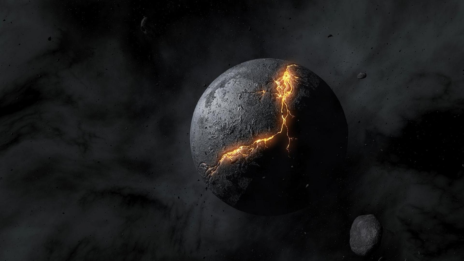 черный космос, скачать фото,  планета, лава