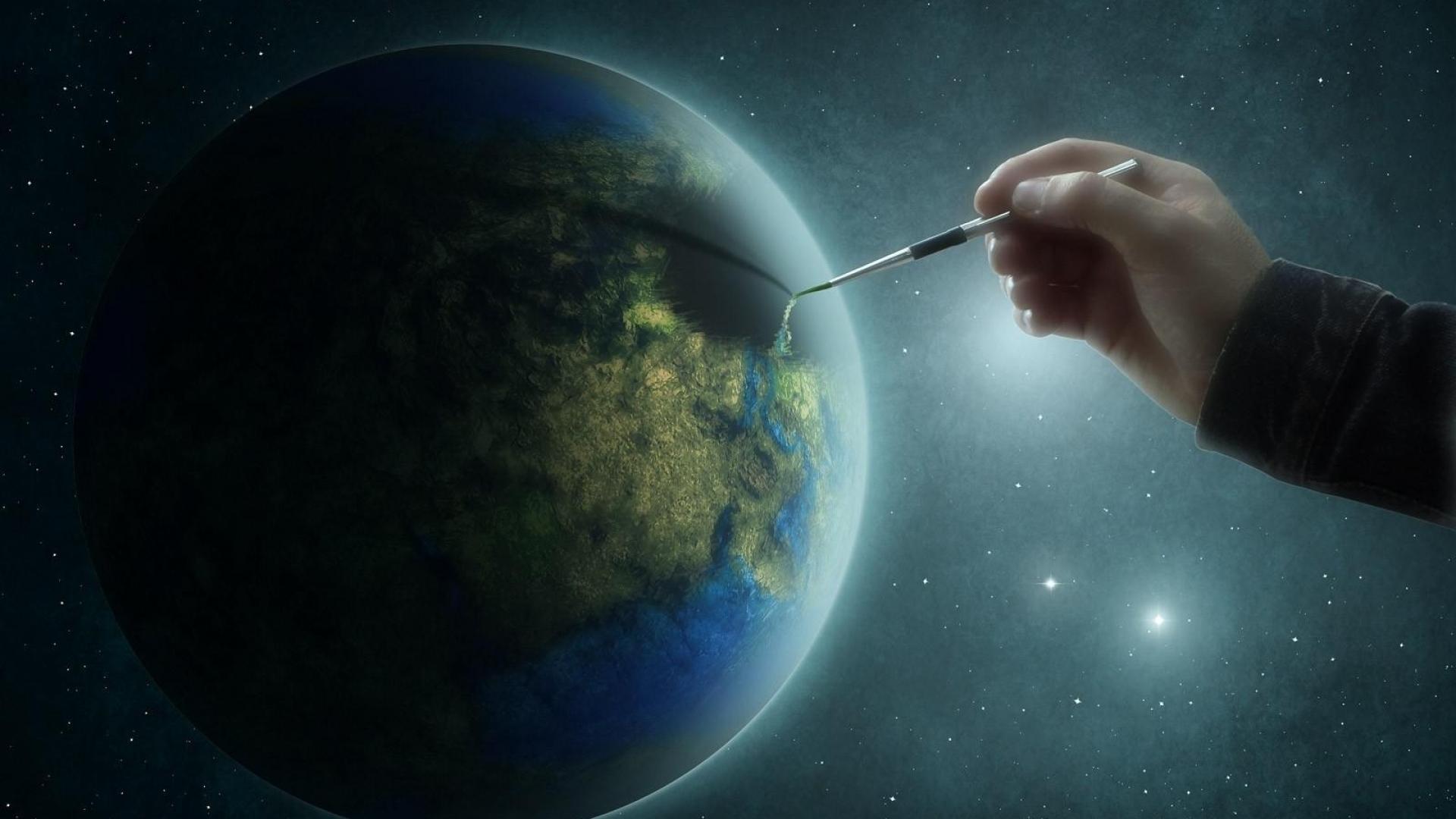космос, бог рисует планету, обои на рабочий стол