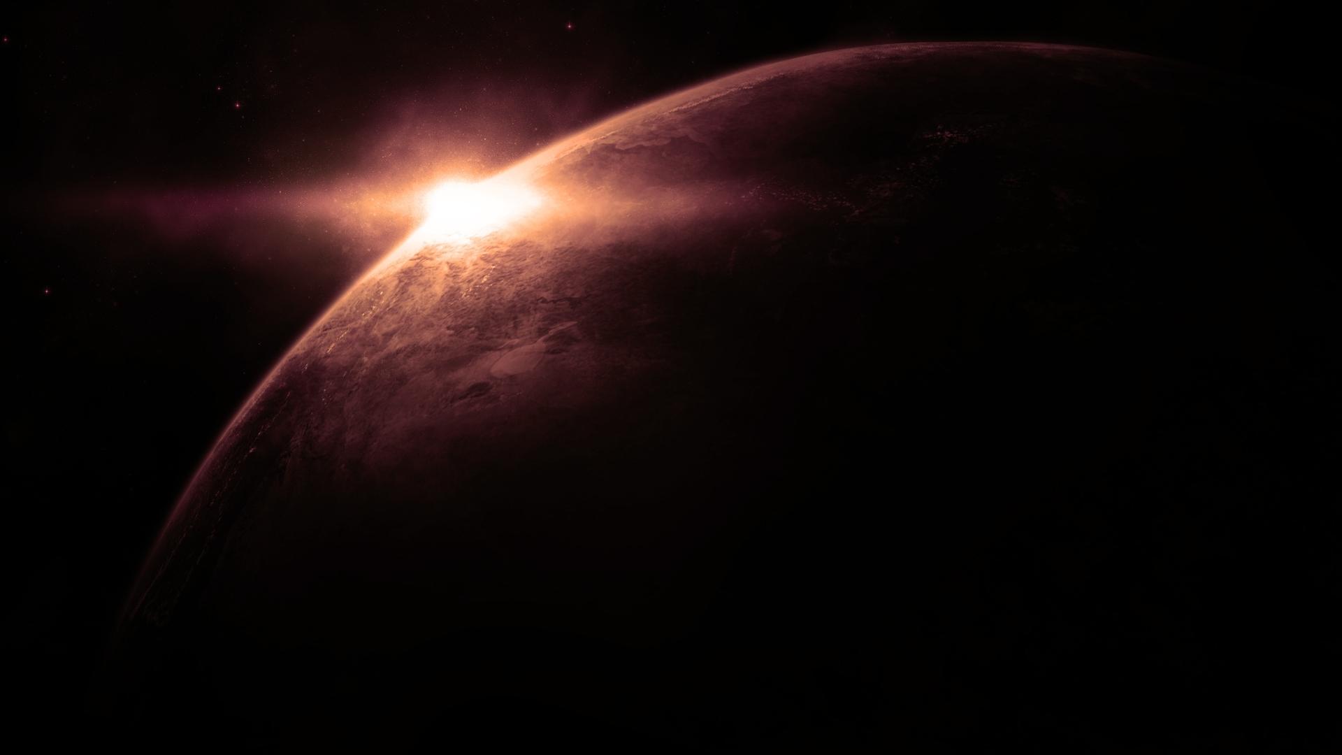 космос, солнце выходит из-за планеты, скачать фото, обои на рабочий стол