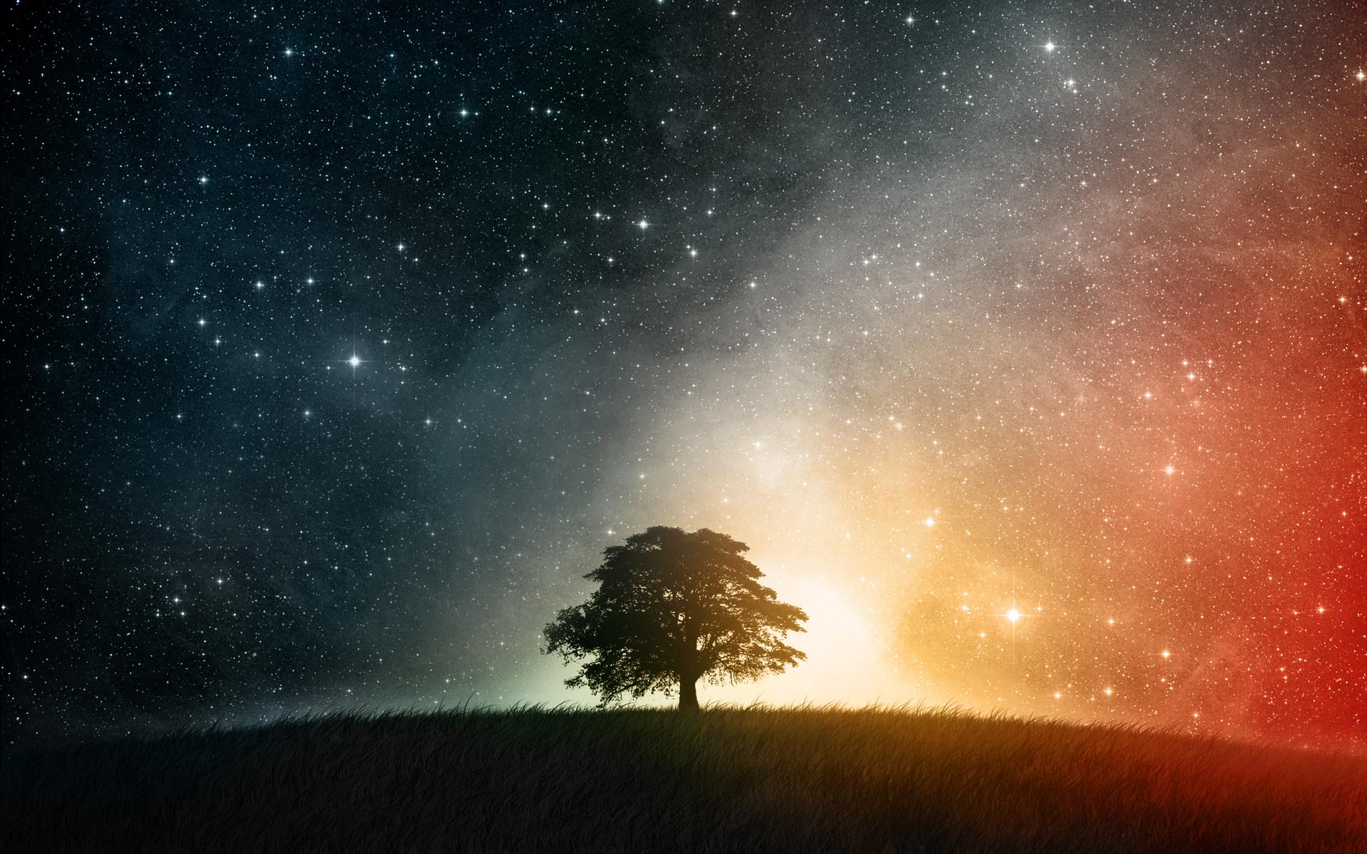 разноцветное звездное небо, космос, скачать фото