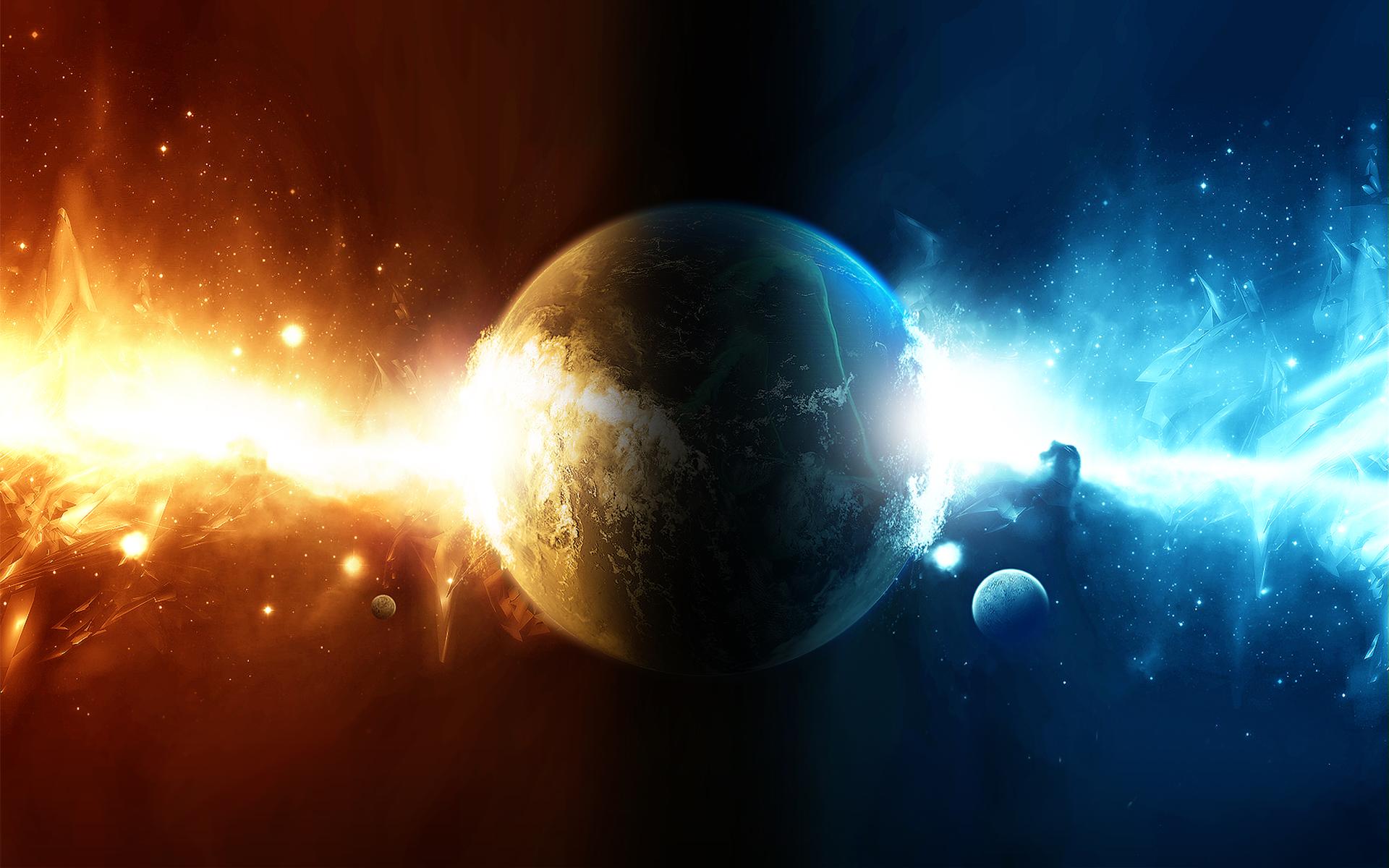 сине-красный луч энергии проходит через планету, скачать фото, обои для рабочего стола