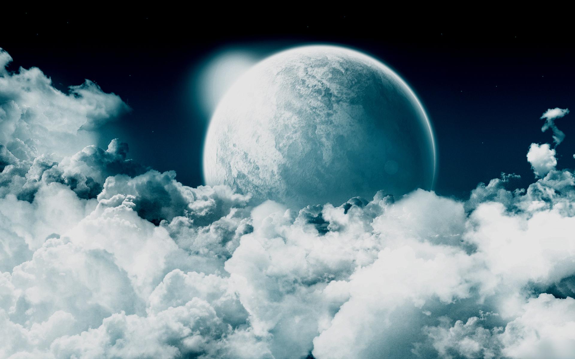 планета среди облаков, небо, космос, space wallpaper