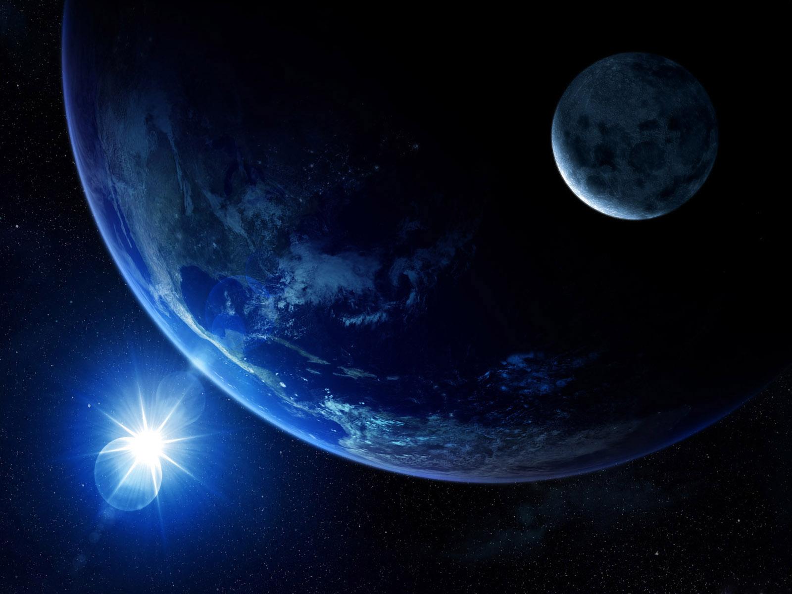 яркая звезда, планета и спутник, скачать фото, обои для рабочего стола