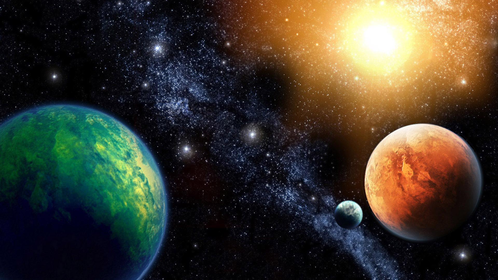 планеты, яркое солнце, космос, space wallpaper, скачать фото
