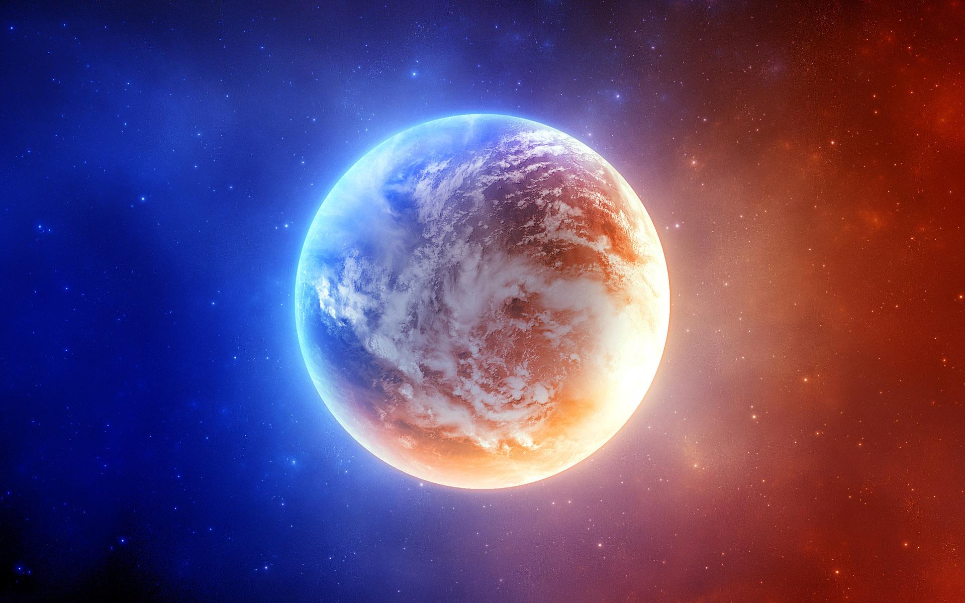 красивая красно-голубая планета, космос