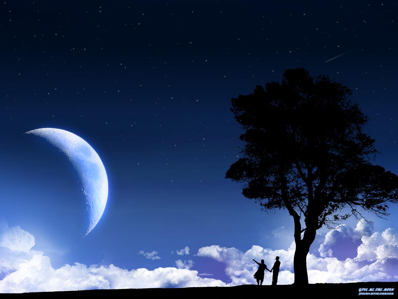 ночь, луна, обои для рабочего стола, любовь, влюбленные, дерево