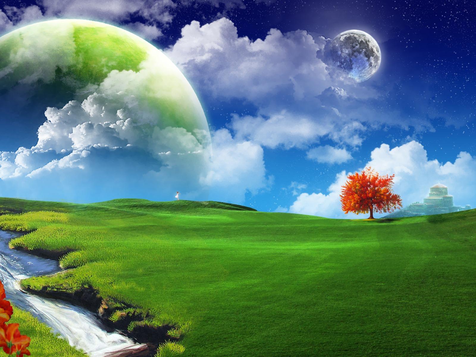 луна большая днем над зеленой поляной, moon wallpaper, скачать обои для рабочего стола