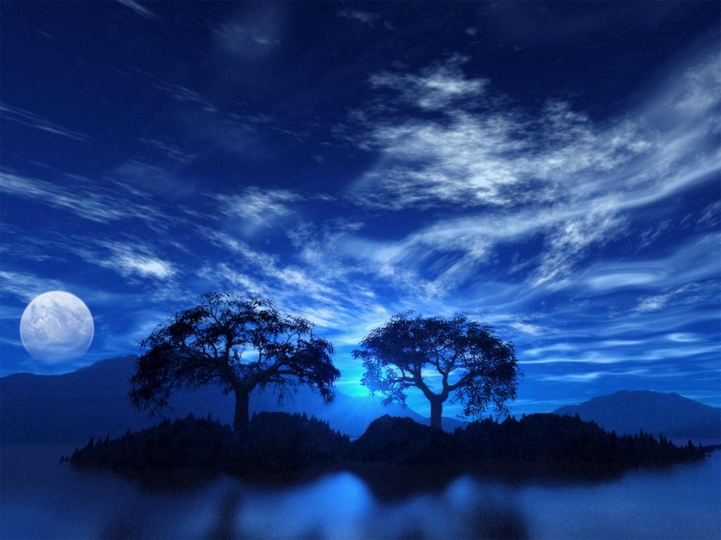 луна, ночь, вода, деревья, moon wallpaper