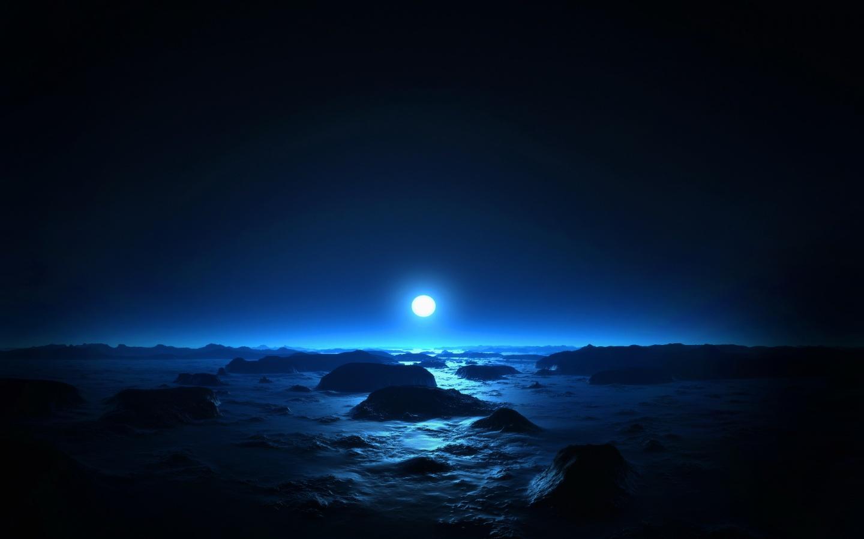 луна на горизонте, ночь, свет, скачать фото, обои на рабочий стол