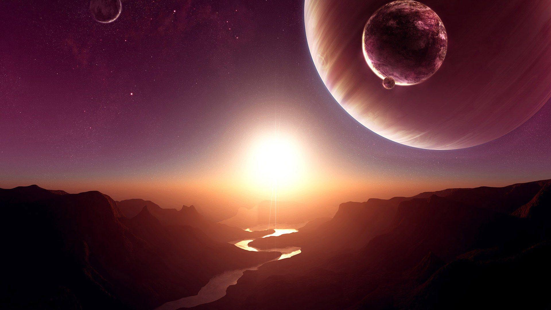 космос, яркое солнце, скачать фото
