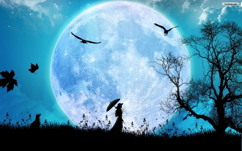 девушка гуляет ночью под луной, скачать фото, moon wallpaper