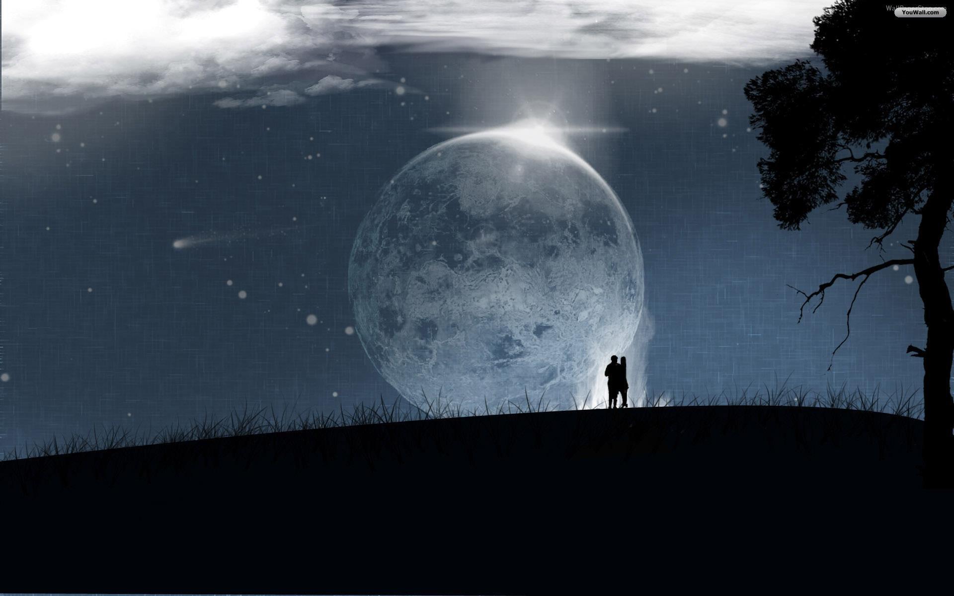 love moon wallpaper, влюбленные под луной, ночь, скачать фото