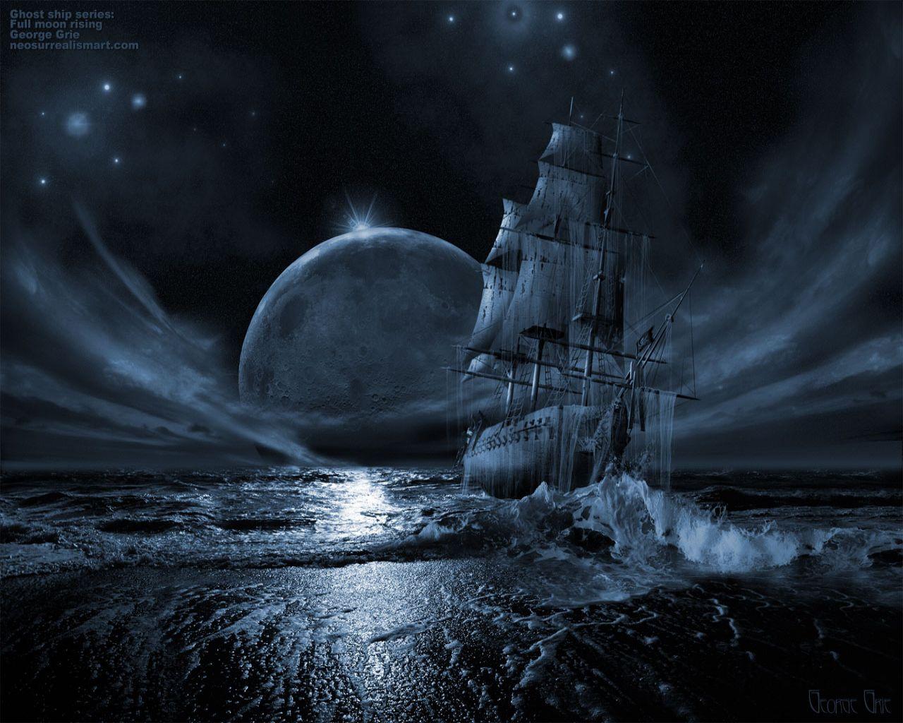 ночь, луна, скачать фото, корабль, море, скачать фото