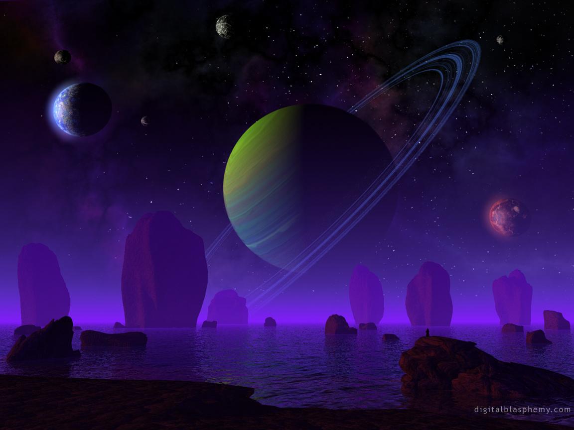 планеты, космос, фиолетовое небо, скачать фото