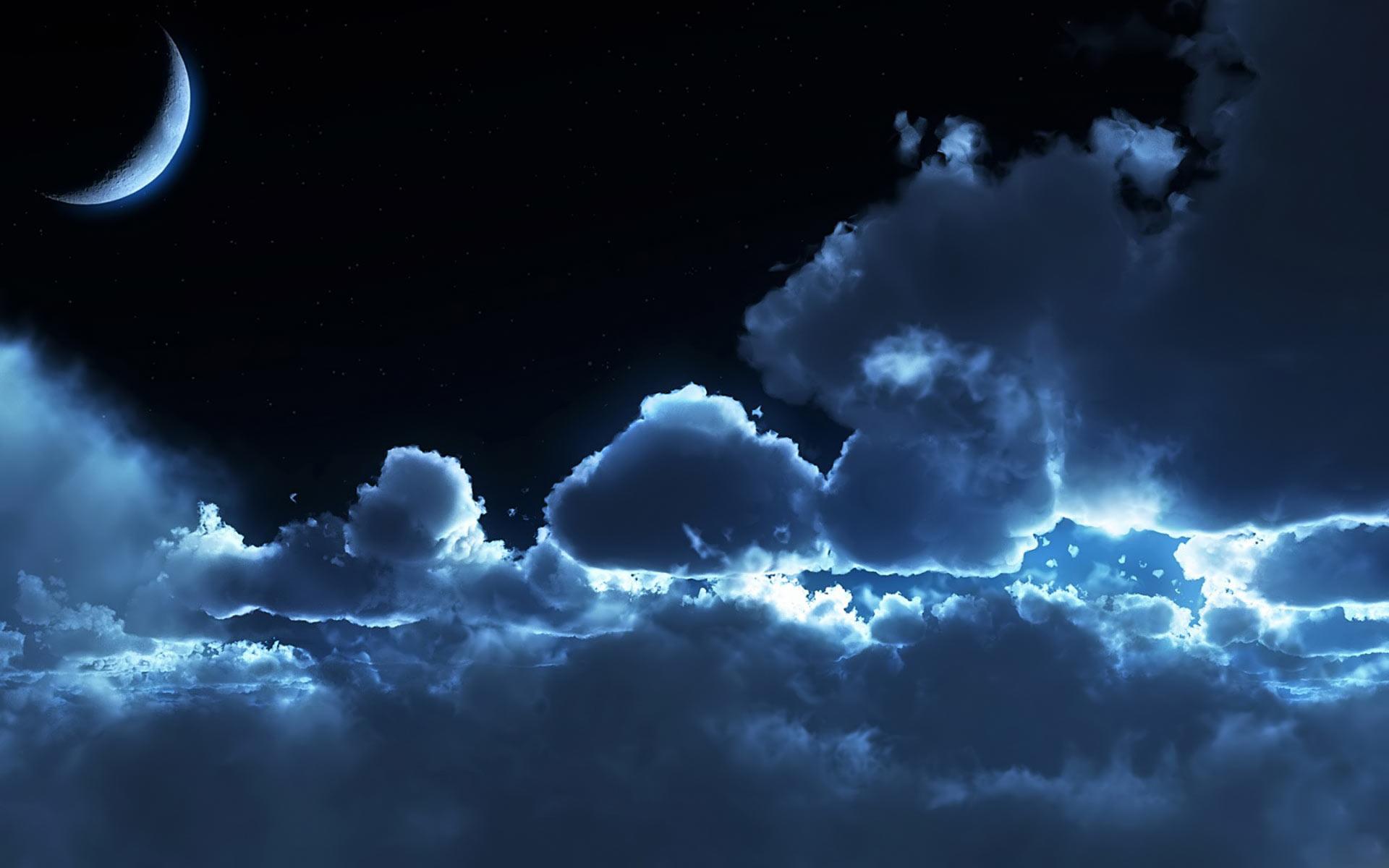 небо, лунный свет, скачать фото, moon night wallpaper