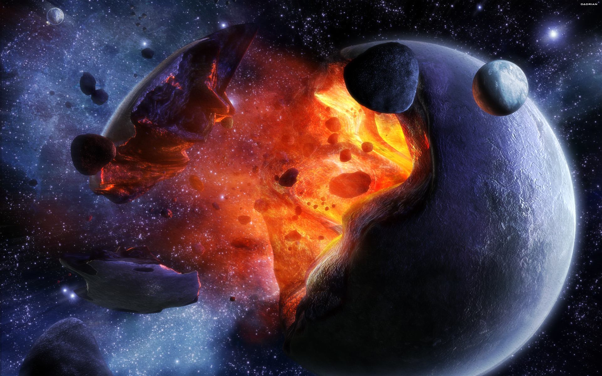 взрыв планеты, магма, лава, скачать фото, космос