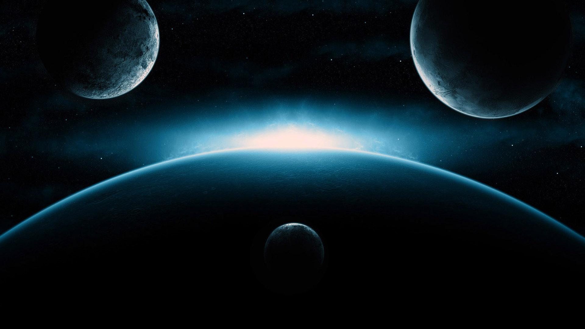 планеты и космический свет, скачать фото