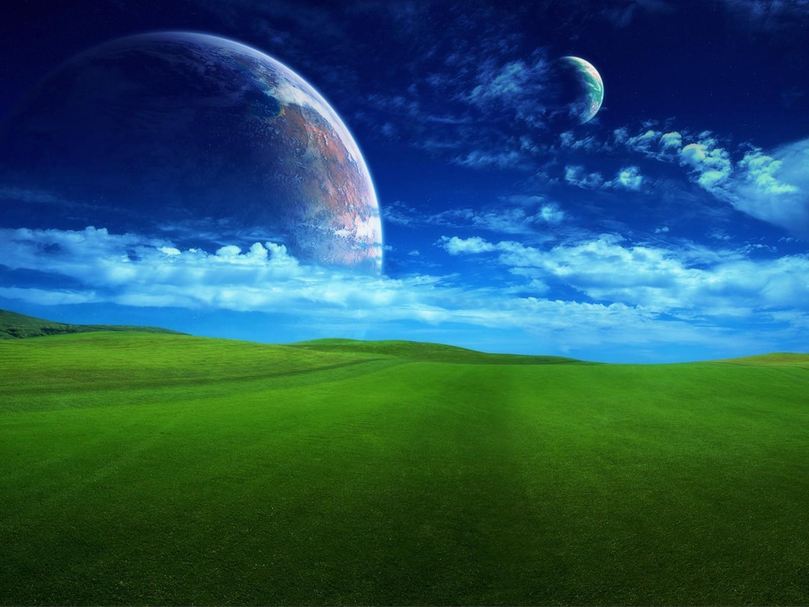 windows moon wallpaper, скачать фото, луна днем, зеленая поляка и синее небо