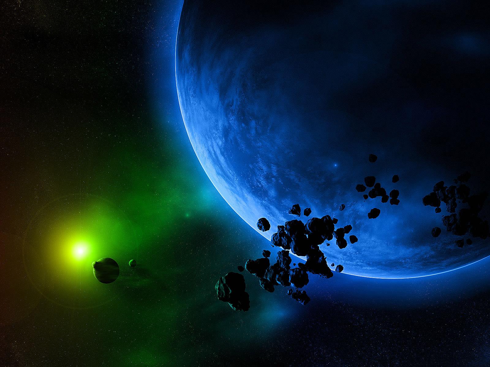 красивое фото, космос, зеленая звезда, огромная планета, обои на рабочий стол