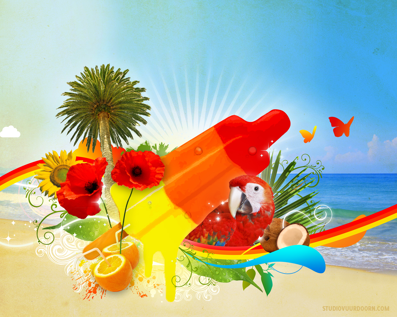 Лето, пляж, попугай, мороженное, скачать фото обои на рабочий стол