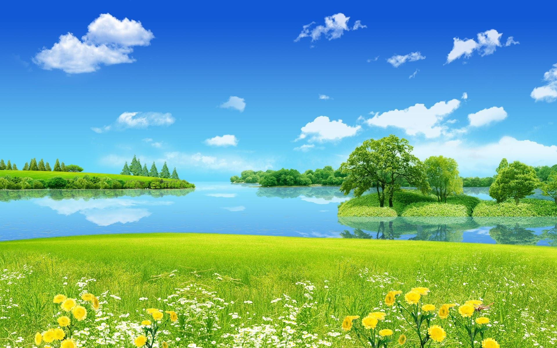 зеленая поляна, скачать фото, обои на рабочий стол, лето, трава, озеро