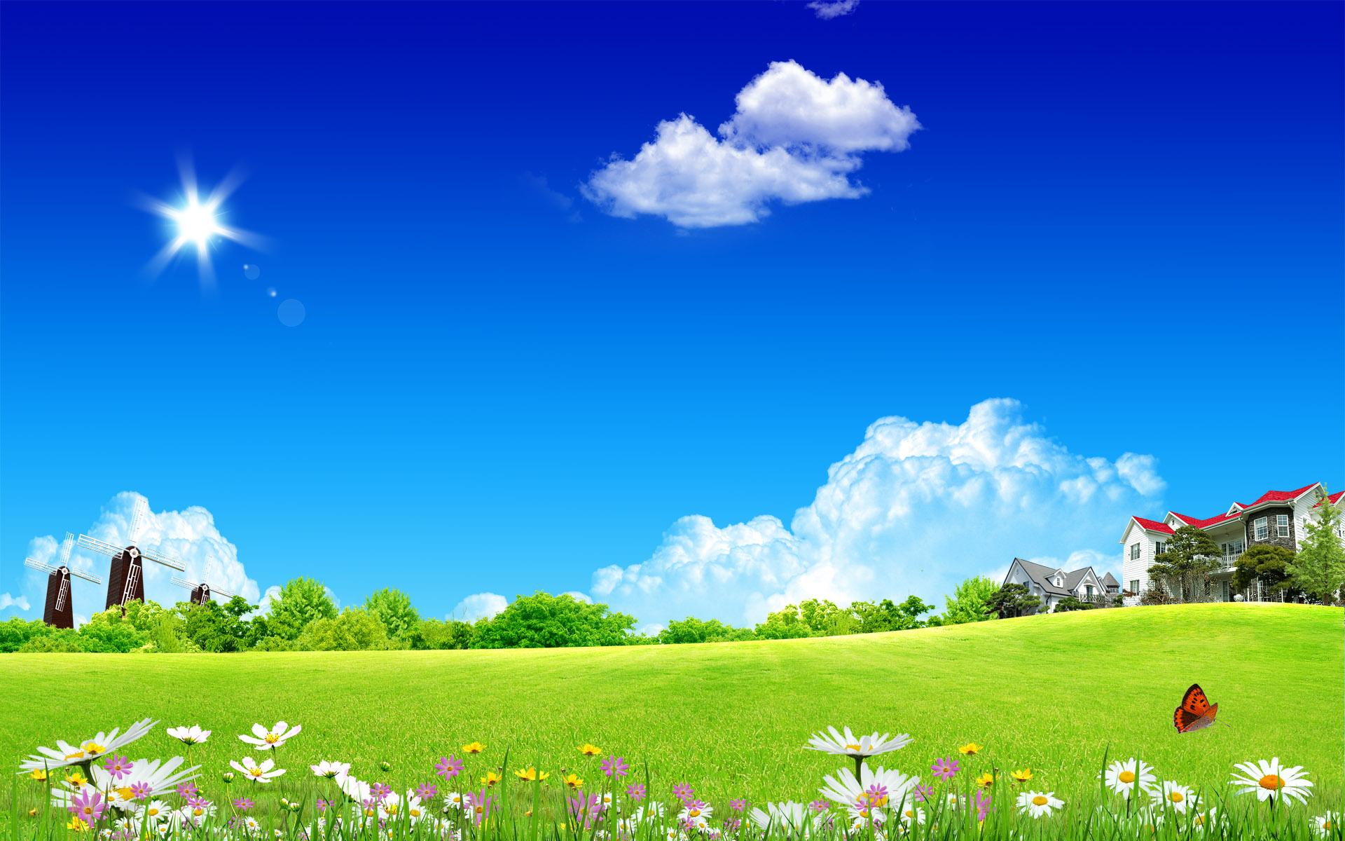 зеленая полянка, фото, обои для рабочего стола, лето, небо, облака
