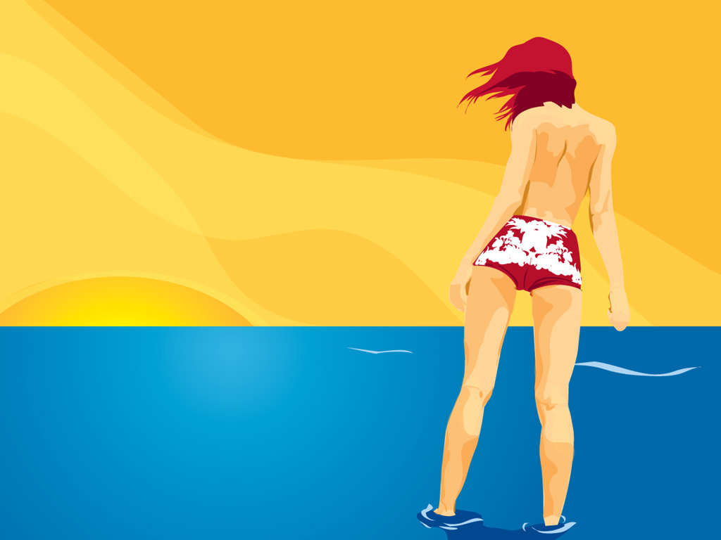 девушка, море, лето, летние обои, пляж, песок, скачать фото, обои для рабочего стола