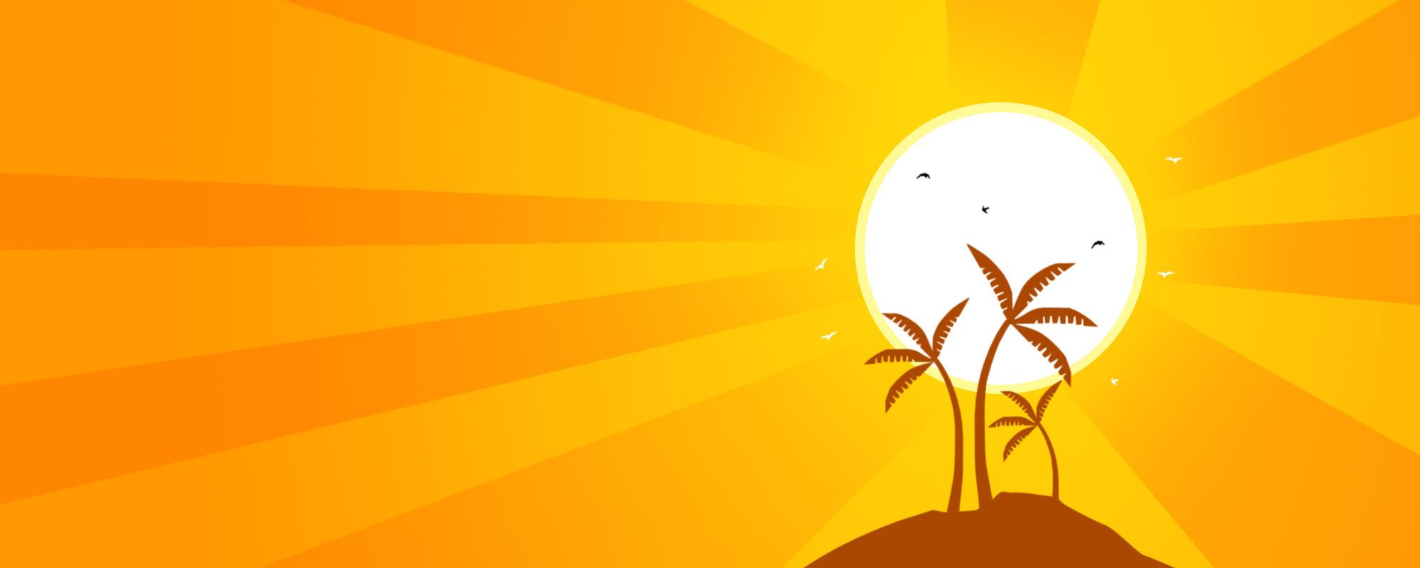 orange summer wallpaper, скачать фото, лето, небо, пальмы