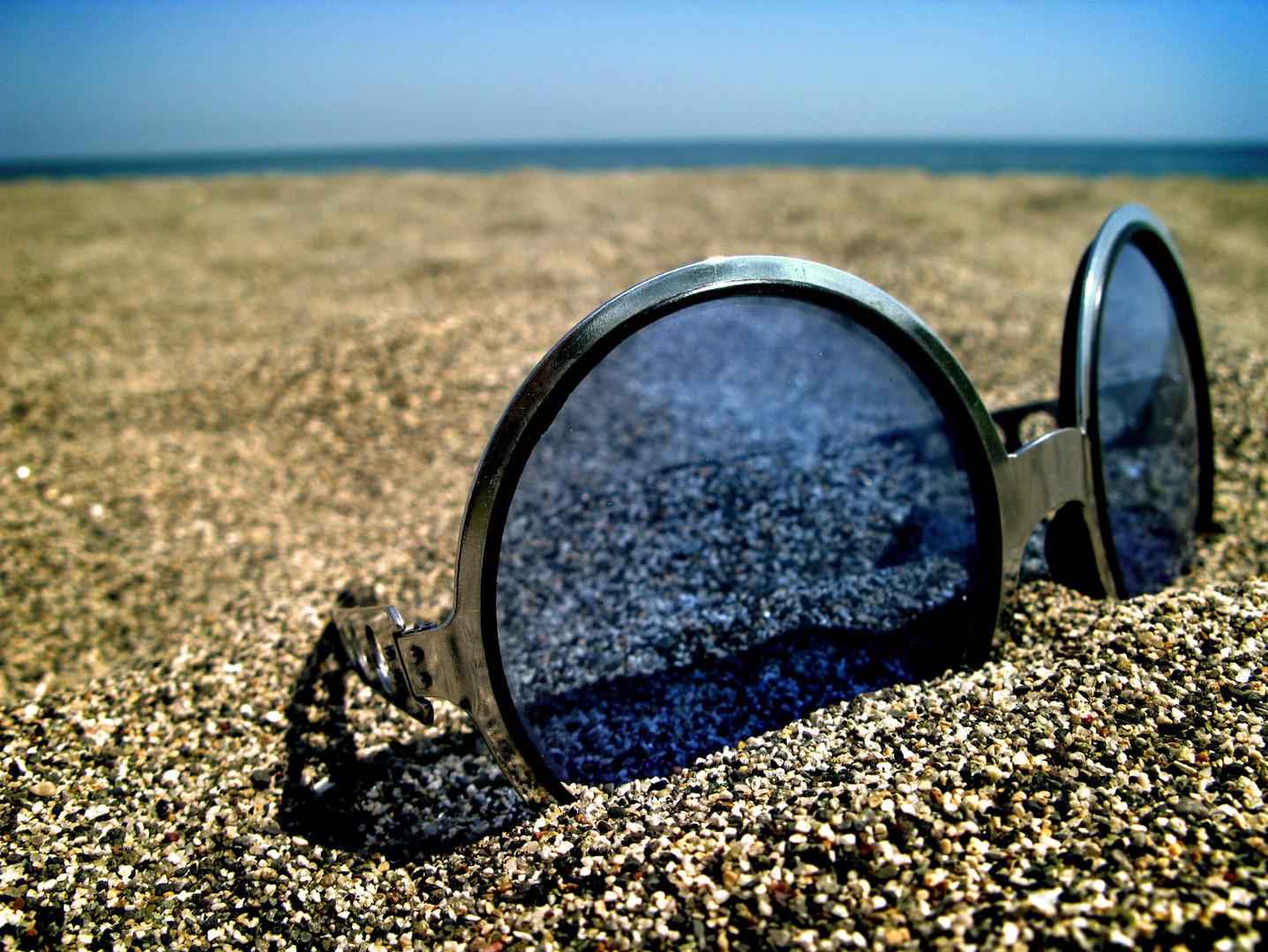 пляж, песок, очки, лето
