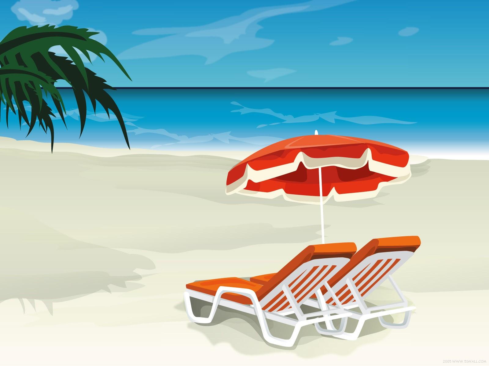 лето, обои для рабочего стола, лежаки, песок, пляж