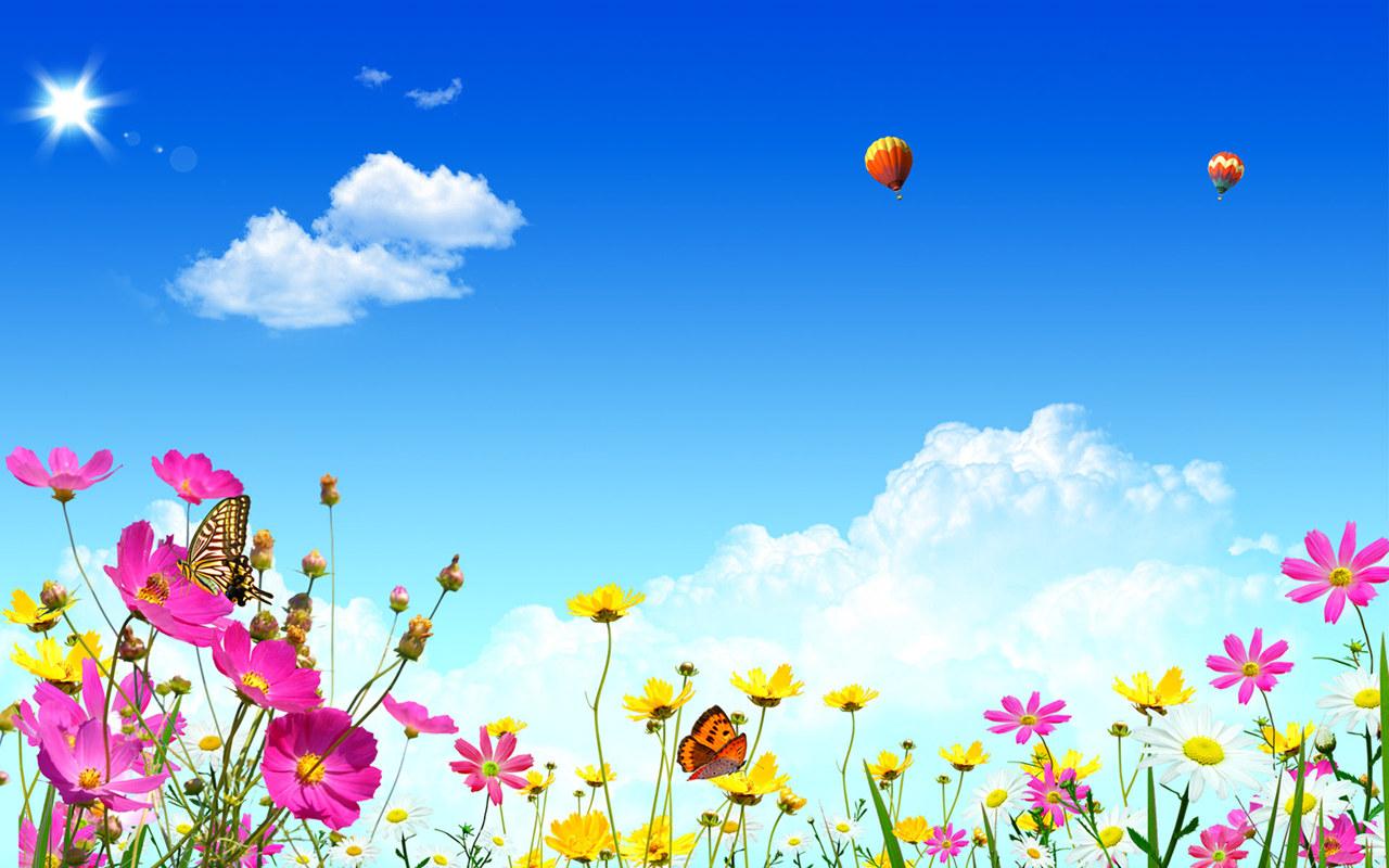 лето, синее небо, солнце, облака, цветы