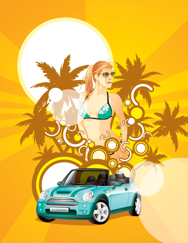 лето, девушка, машина, пальмы, скачать фото обои для рабочего стола