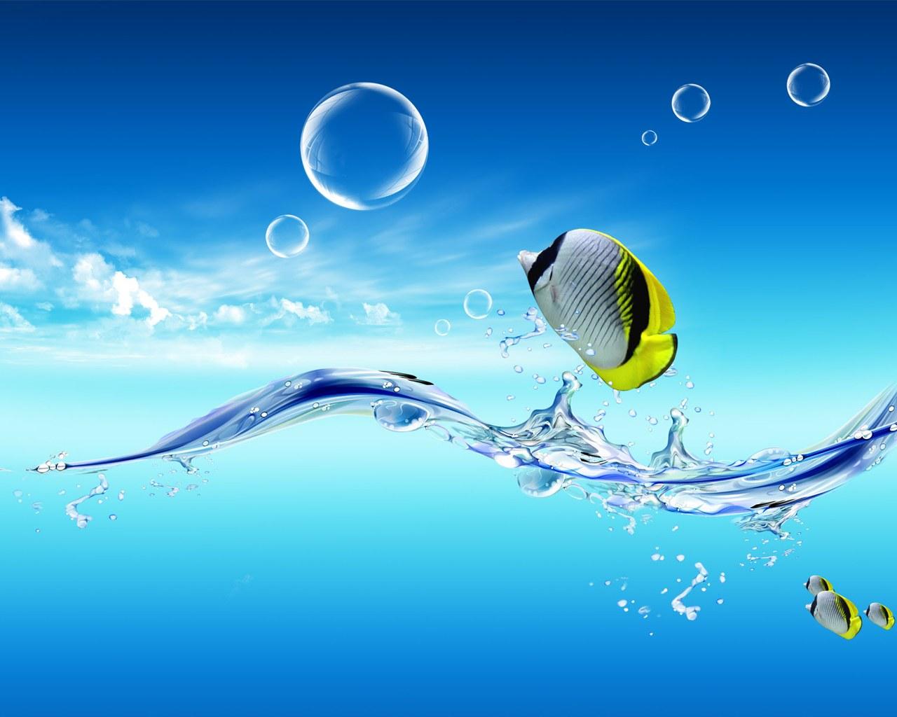 рыбы, голубая вода, море. лето, скачать фото