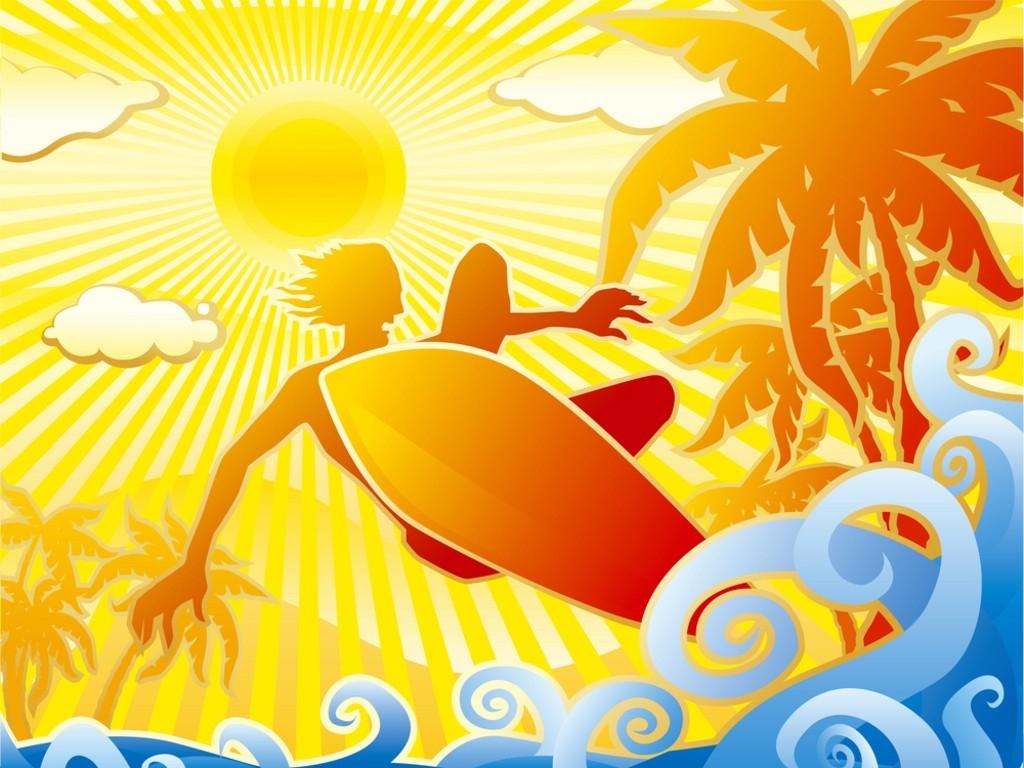 лето, пальмы, море, серфинг, скачать фото, обои ня рабочий стол