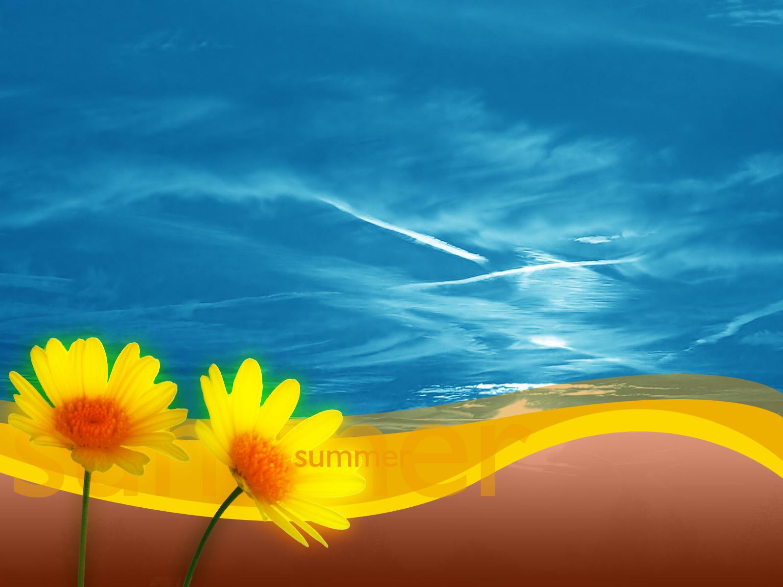 море, цветочки, лето, скачать фото