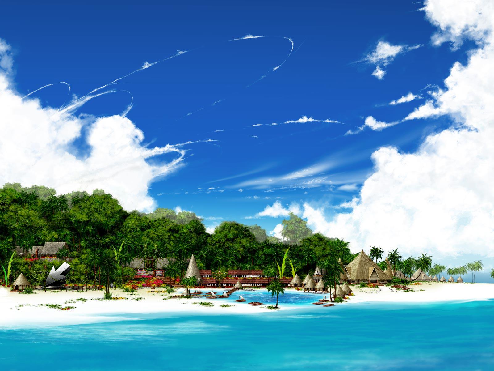 лето, пляж, пальмы, отдых, скачать фото обои для рабочего стола