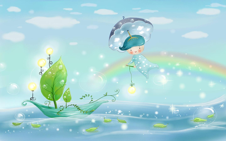 лето, небо, радуга, кораблик, фото