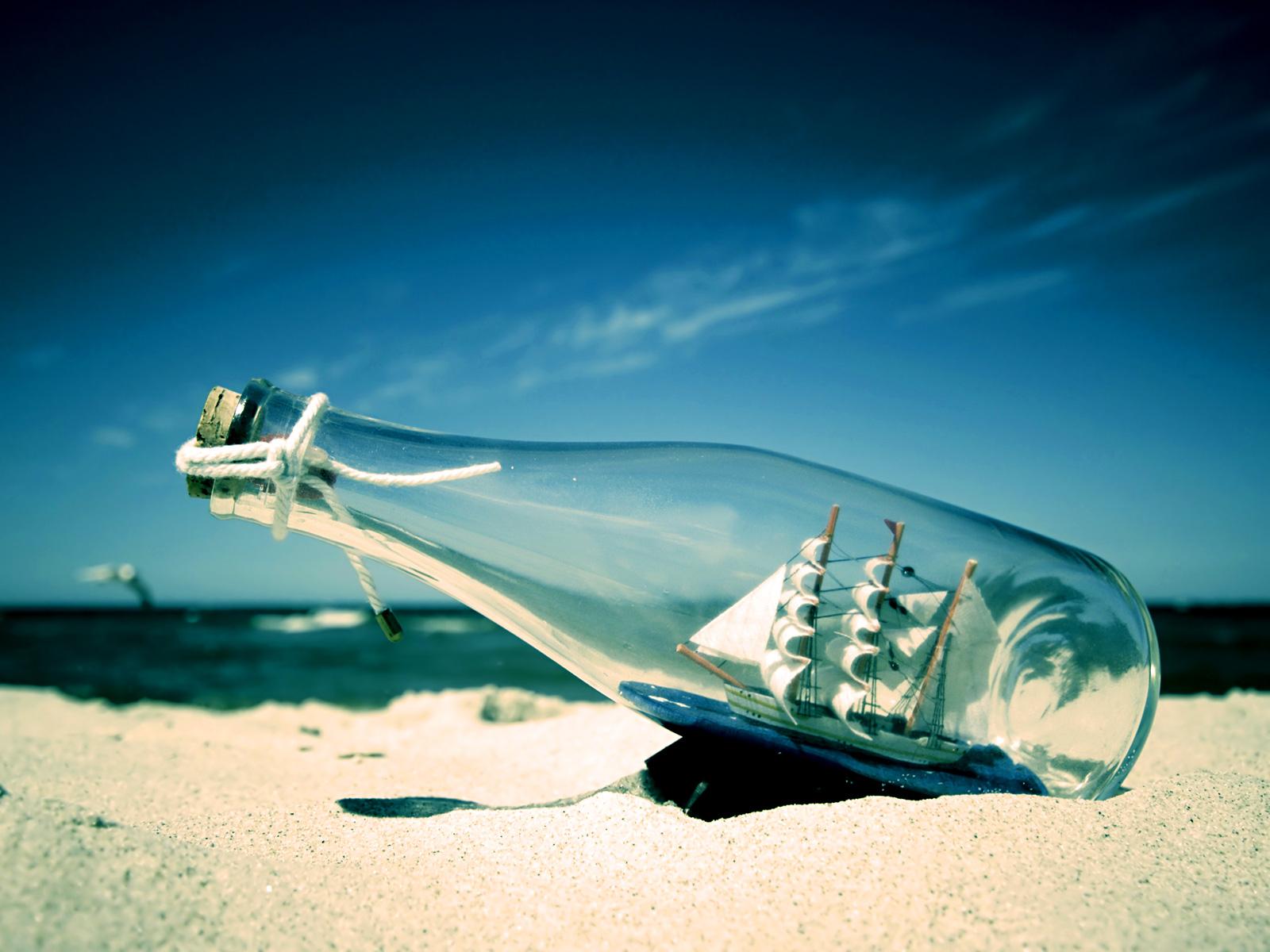 корабль в бутылке, красивое фото, море, пляж