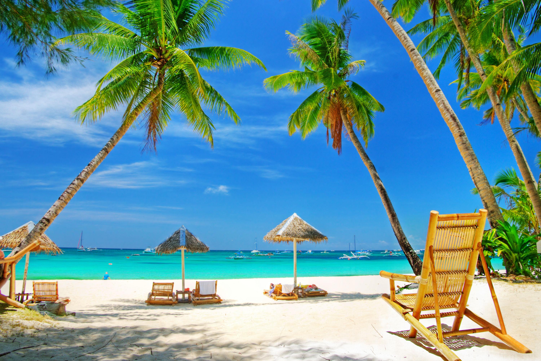 море, пляж, пальмы, лежаки, грибки, скачать фото обои для рабочего стола, beach wallpaper
