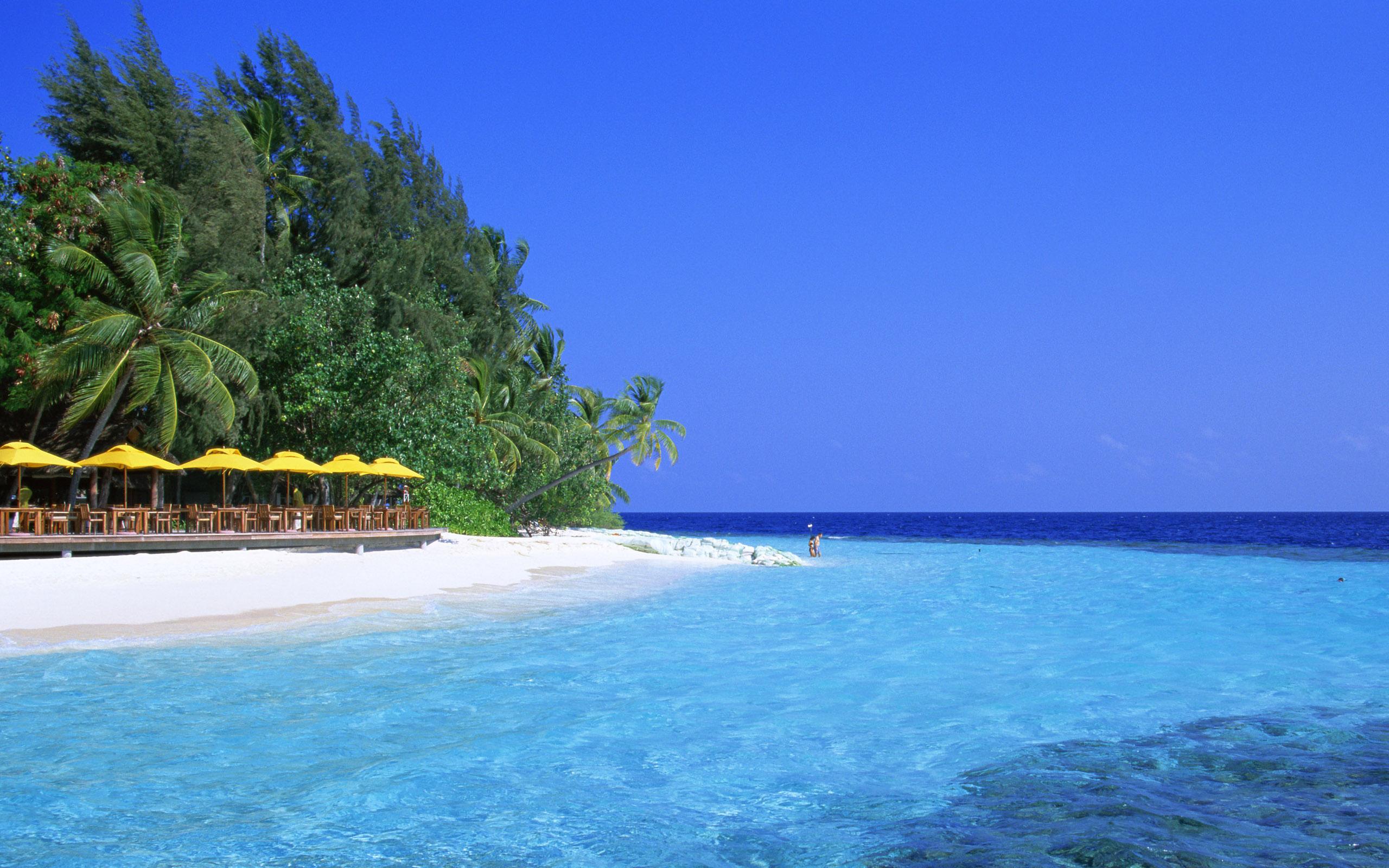 море, скачать фото, пляж, пальмы, домики