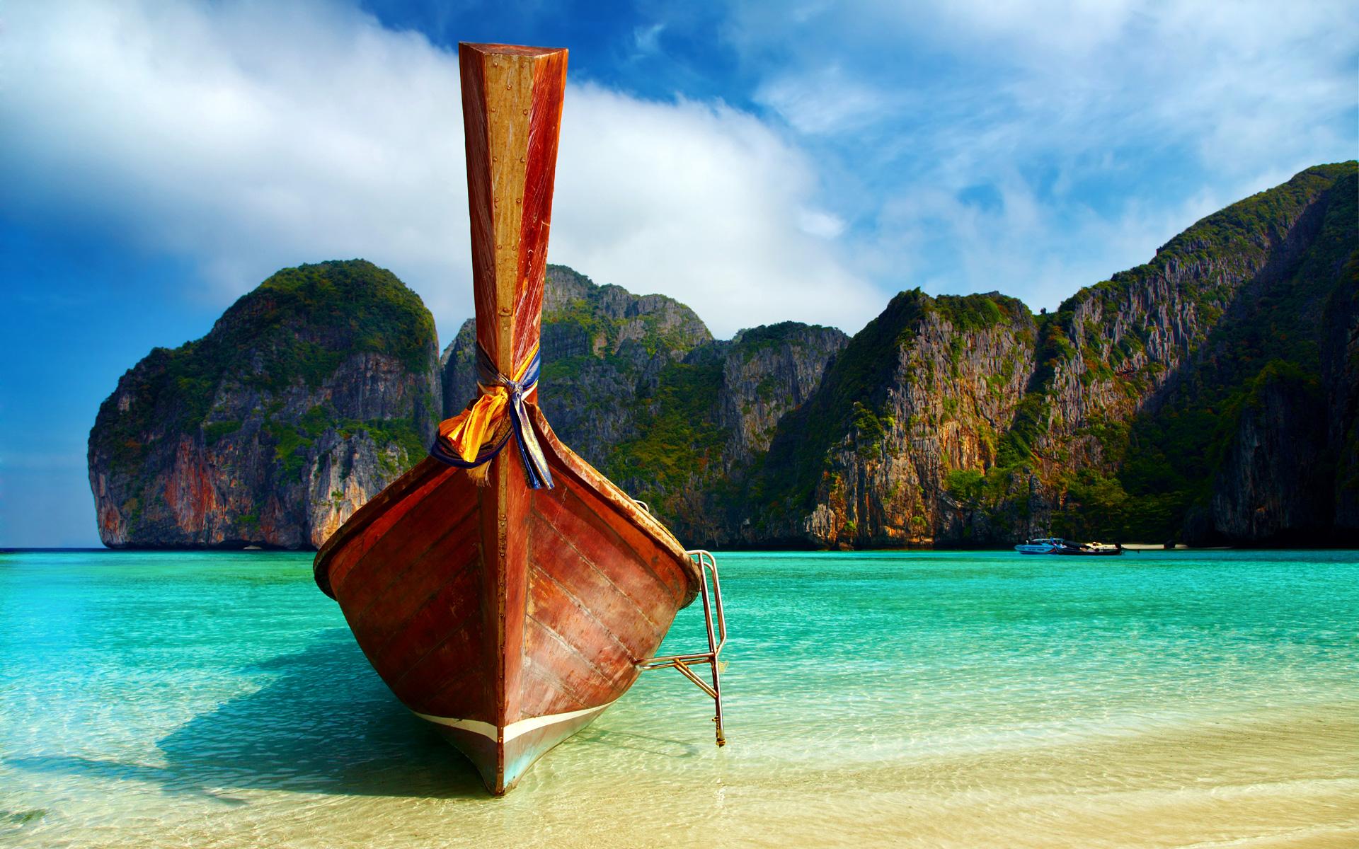 пляж, корабль, песок, море, парусная лодка, скачать фото обои на рабочий стол