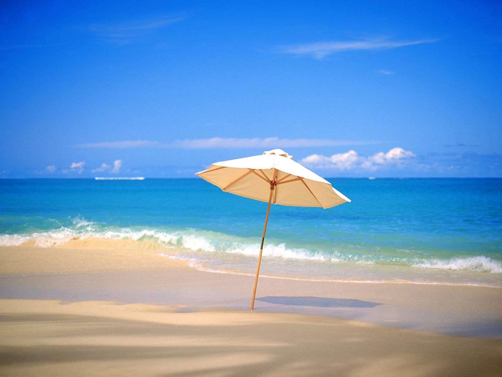 пляж, зонтик, грибок, скачать фото, обои для рабочего стола
