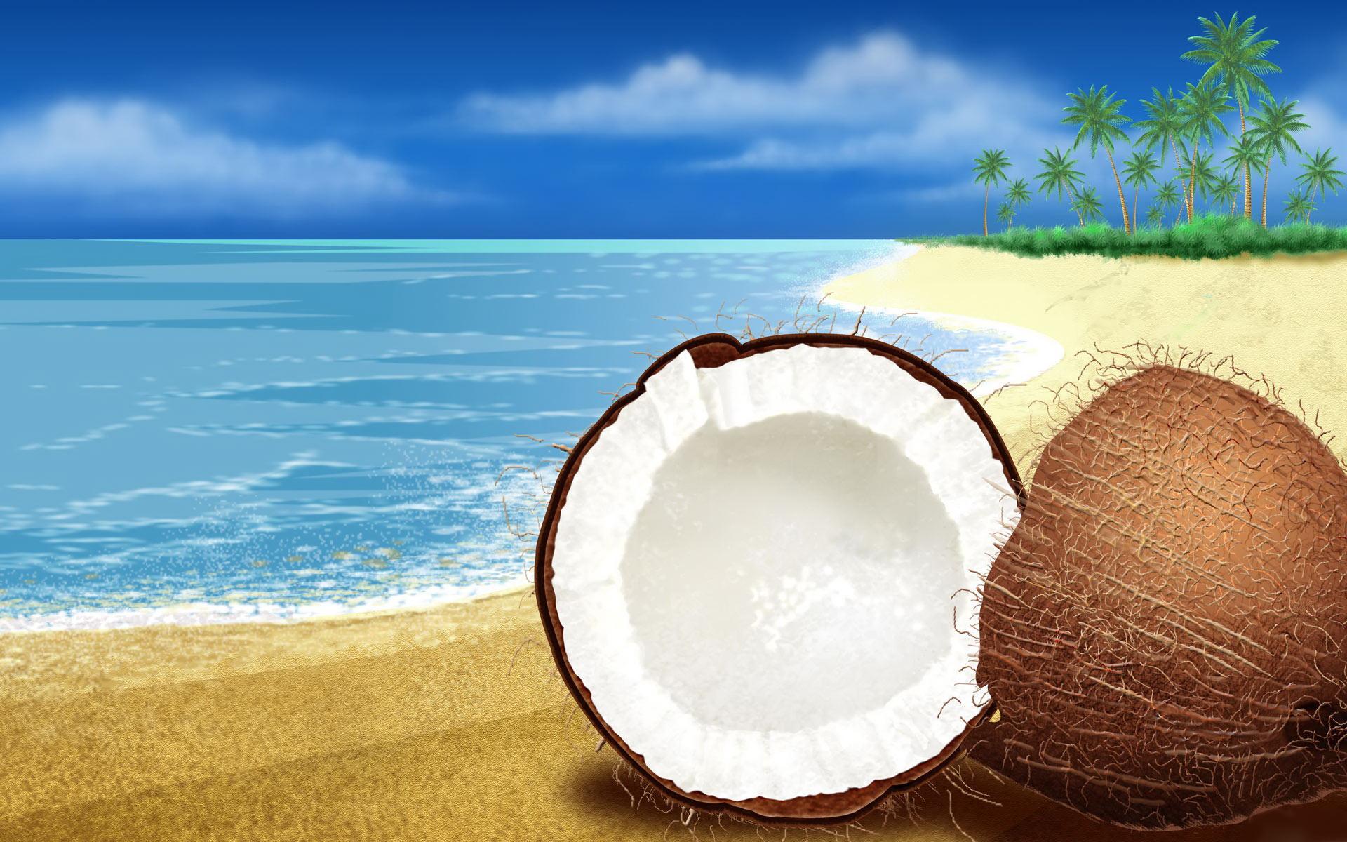 кокосовый орех на пляже, скачать фото, песок, пляж, beach wallpaper, coconut