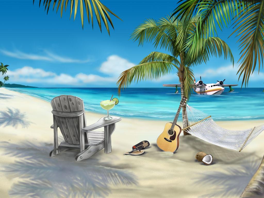 пляж, пальмы, лежаки, гитара, скачать фото, обои для рабочего стола