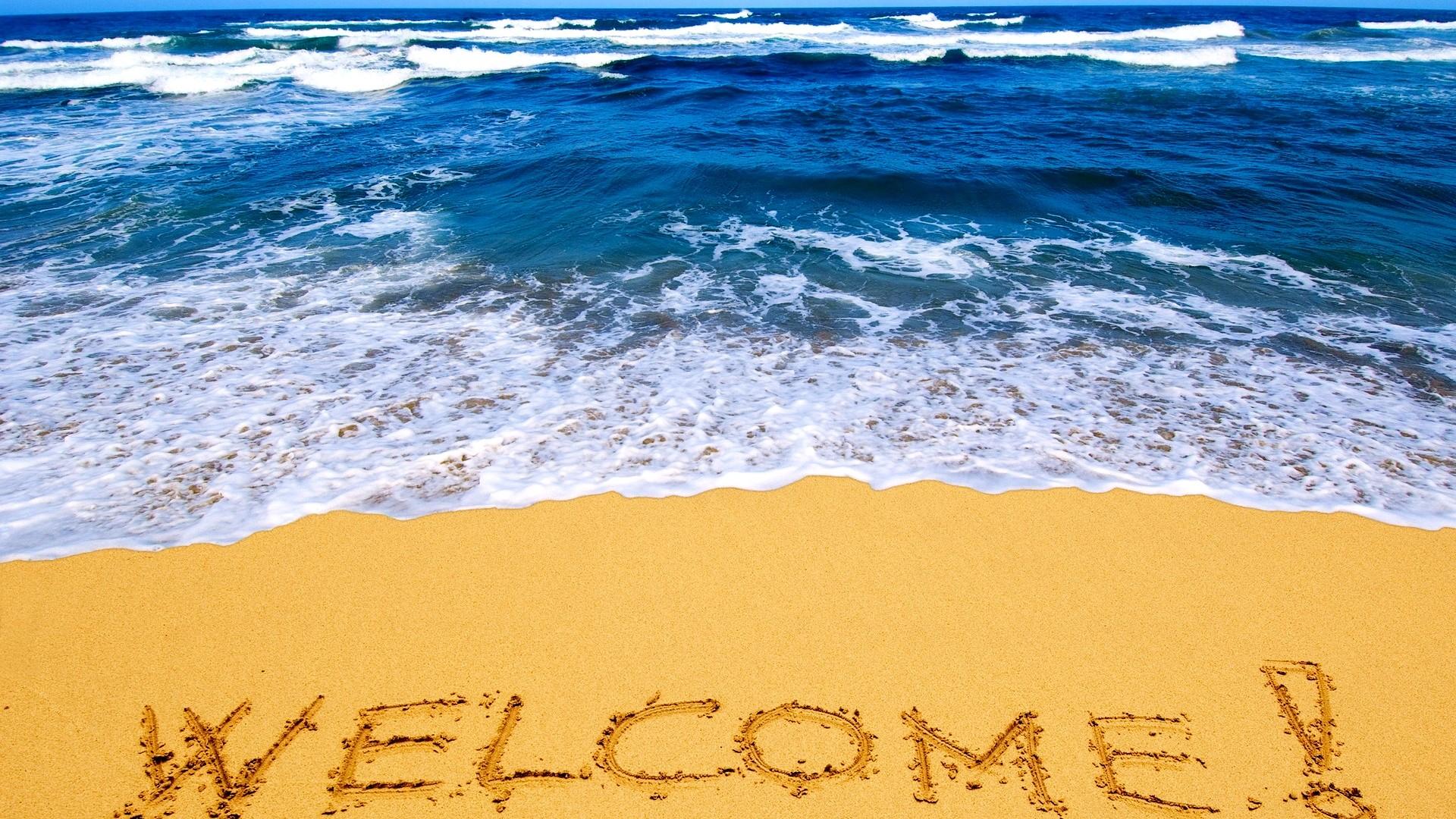 песок, пляж, море, надпись WELCOME! на песке, скачать фото, beach wallpaper