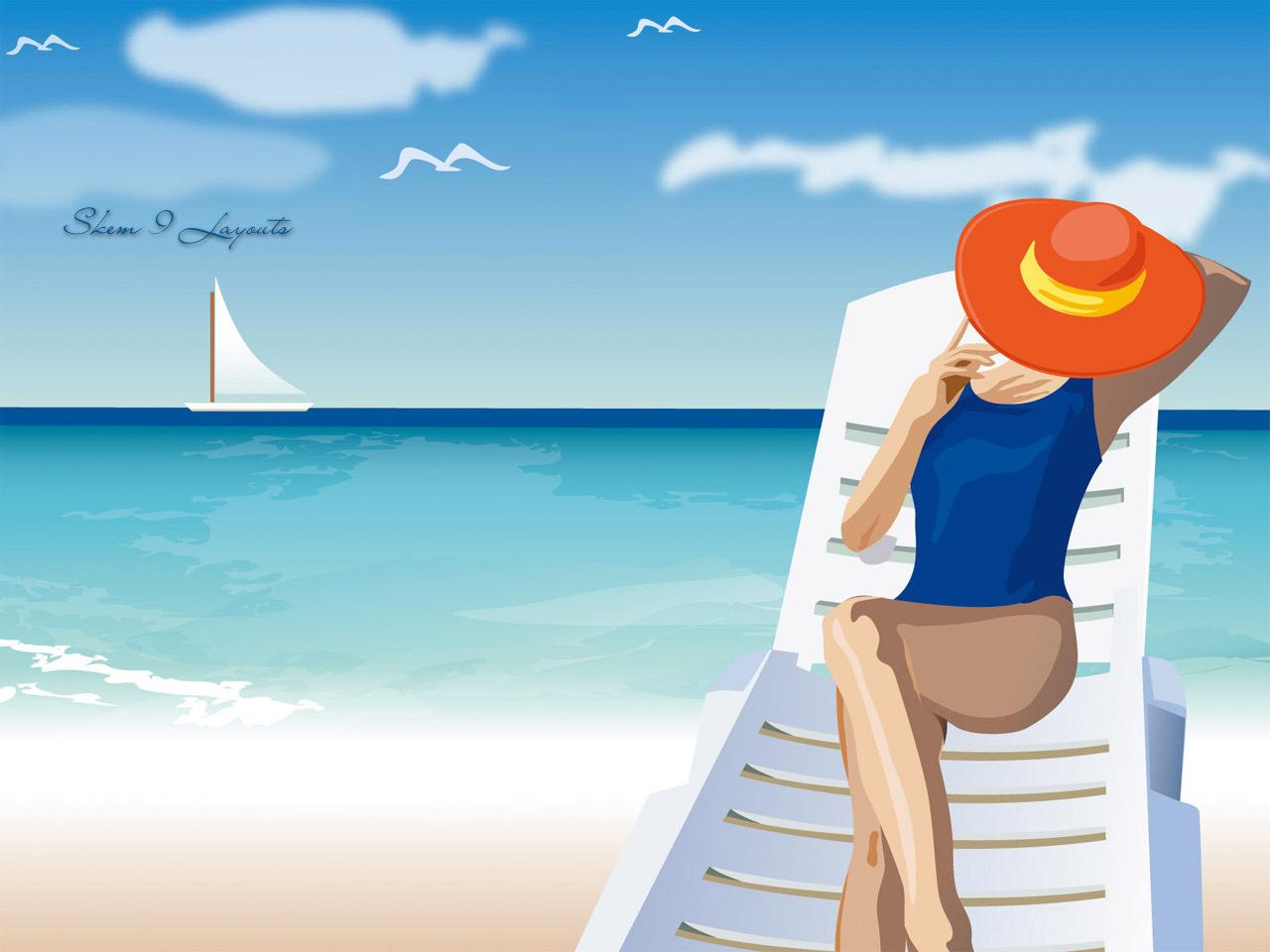 девушка лежит на кресле на пляже и загорает, скачать фото, загар