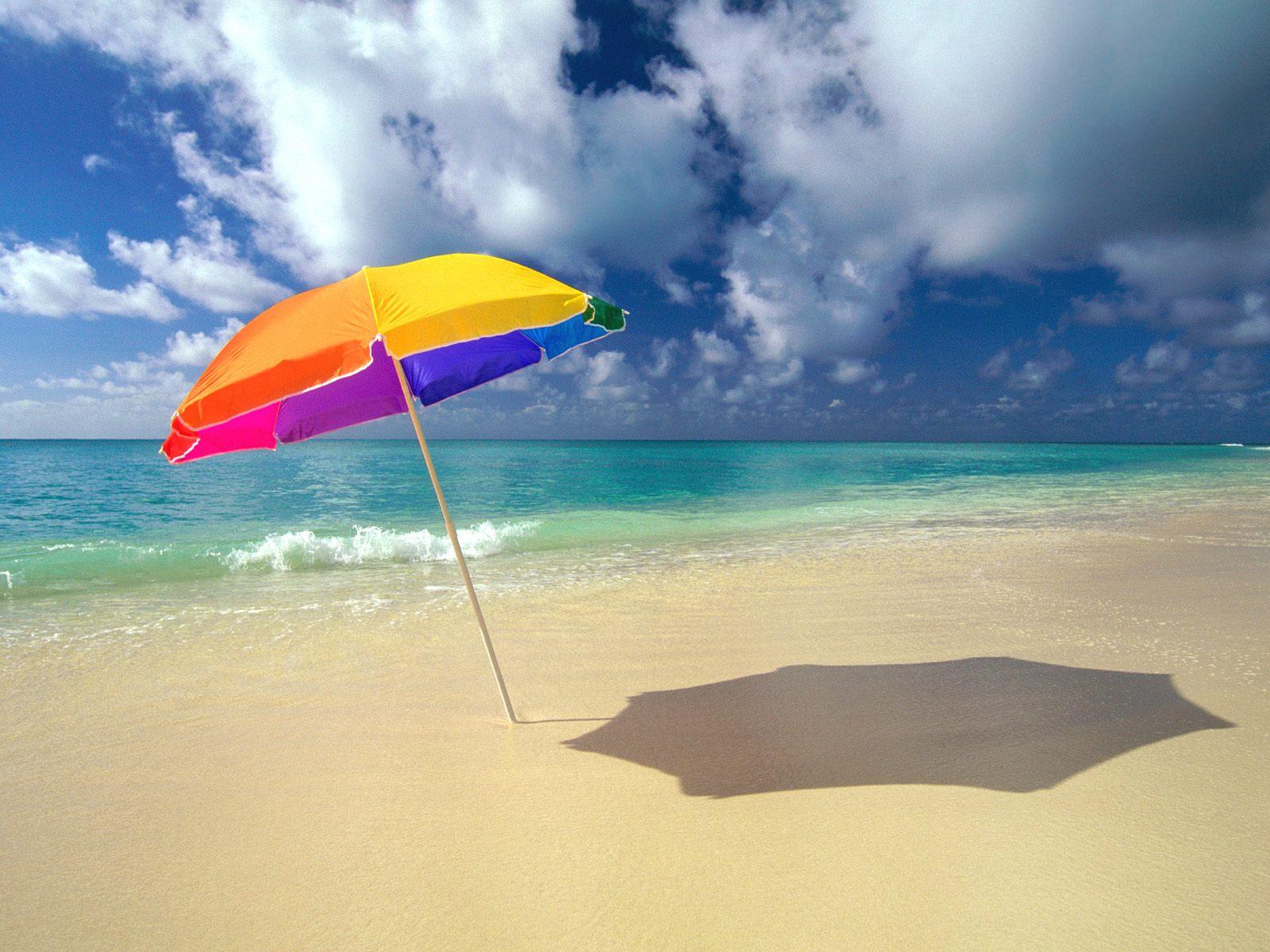 пляж, песок, грибок, зонтик, море, скачать фото, обои для рабочего стола