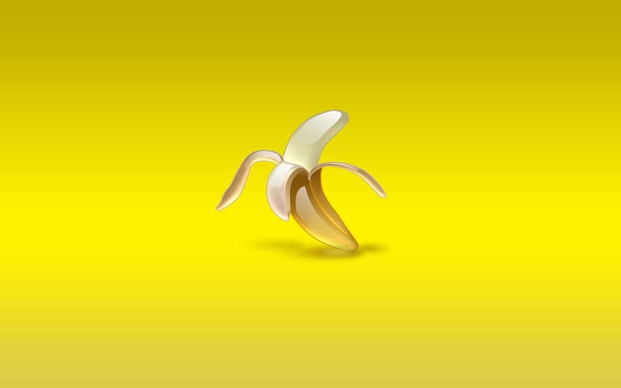 очищенный банан на желтом фоне, скачать фото, обои на рабочий стол