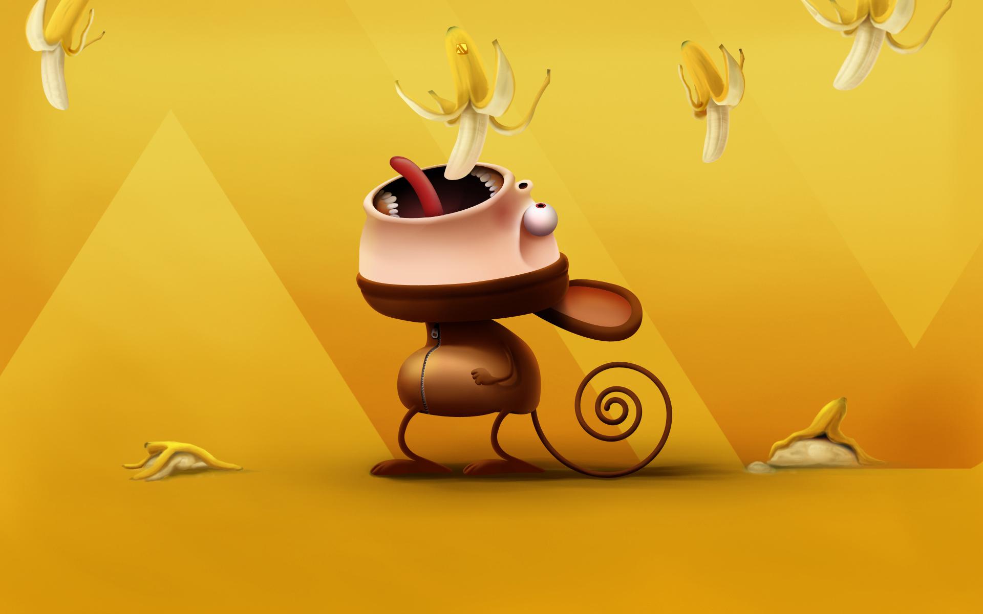 обезьянка ест бананы, скачать фото, yellow banana wallpaper, обои