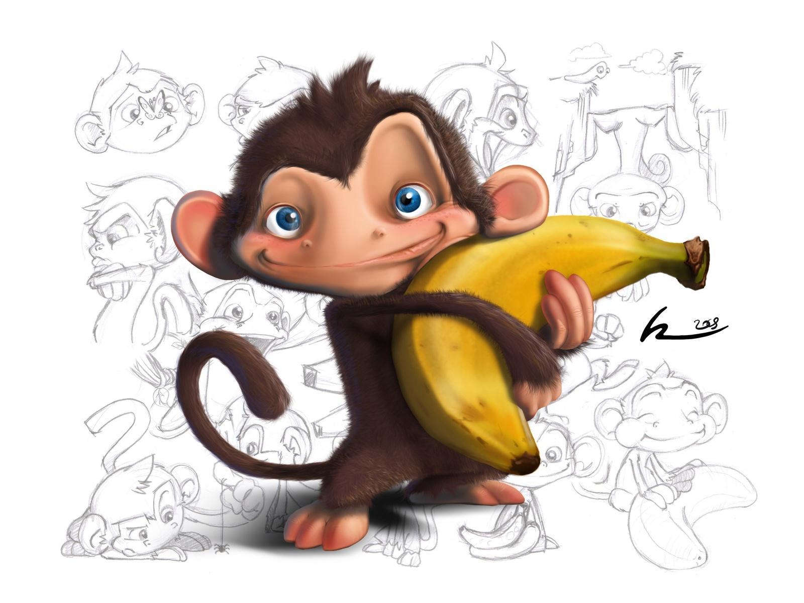 обезьянка и банан, мартышка, скачать фото, обои для рабочего стола